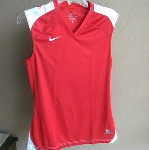 Red Nike Dri-fit muscle tee